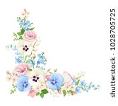 Stock vector vector corner background with pink blue and white spring flowers 1028705725