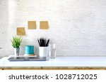 stylish workplace with copy... | Shutterstock . vector #1028712025