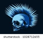 punk skull in blue color | Shutterstock .eps vector #1028712655