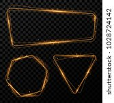 gold shining frames with lights ... | Shutterstock .eps vector #1028724142