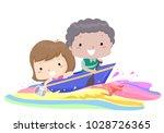 illustration of kids riding a... | Shutterstock .eps vector #1028726365