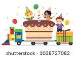illustration of stickman kids... | Shutterstock .eps vector #1028727082