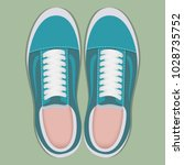 pair of stylish sport sneakers  ... | Shutterstock .eps vector #1028735752