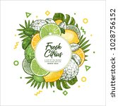 fresh citrus design template.... | Shutterstock .eps vector #1028756152