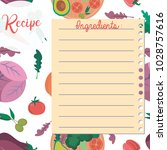 vector template of recipe card. ... | Shutterstock .eps vector #1028757616
