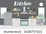 modern kitchen interior with... | Shutterstock .eps vector #1028757622