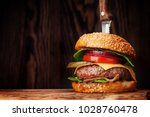 tasty grilled home made burger... | Shutterstock . vector #1028760478
