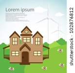 eco house with wind turbine.... | Shutterstock .eps vector #102876812