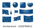 set european union flags ... | Shutterstock .eps vector #1028780812