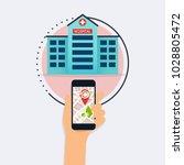 hand holding mobile smart phone ... | Shutterstock .eps vector #1028805472