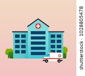 hospital with ambulance flat... | Shutterstock .eps vector #1028805478