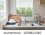 modern kitchen room with sink... | Shutterstock . vector #1028811382