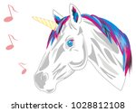 unicorn and notes | Shutterstock . vector #1028812108
