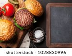 tasty grilled home made burgers ... | Shutterstock . vector #1028830996