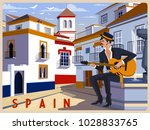 summer day in small town ... | Shutterstock .eps vector #1028833765