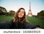 Woman Tourist At Eiffel Tower...