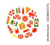 cartoon tomato products round... | Shutterstock .eps vector #1028842576