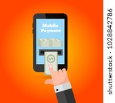 mobile payment concept hand... | Shutterstock .eps vector #1028842786