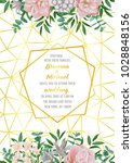 floral wedding invitation with... | Shutterstock .eps vector #1028848156