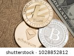 cryptocurrency silver and gold... | Shutterstock . vector #1028852812