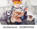 industrial worker presses deep... | Shutterstock . vector #1028853406