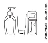 set of toiletries   liquid soap ... | Shutterstock .eps vector #1028856286