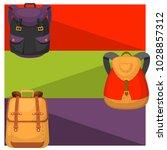 back to school kids backpack... | Shutterstock .eps vector #1028857312