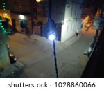 Small photo of Serial Set / Serial Light used for decoration of building during marriage, festival and other functions in India. Blue lights decoration photo taken in night