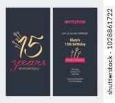 15 years anniversary invitation ... | Shutterstock .eps vector #1028861722