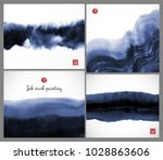 set of blue ink wash painting... | Shutterstock .eps vector #1028863606