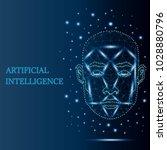 digital polygonal face scanning ... | Shutterstock .eps vector #1028880796