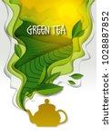 ceramic teapot with spilling...   Shutterstock .eps vector #1028887852
