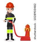 female firefighter holding... | Shutterstock .eps vector #1028903482