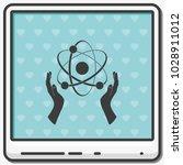 opened hands holding atom sign...   Shutterstock .eps vector #1028911012