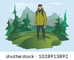 happy young man with backpack... | Shutterstock .eps vector #1028913892