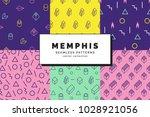 set of memphis seamless...   Shutterstock .eps vector #1028921056