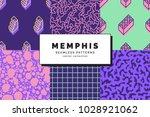 set of memphis seamless...   Shutterstock .eps vector #1028921062