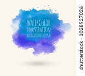 blue watercolor hand drawn... | Shutterstock .eps vector #1028927026