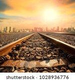 perspective of railway track... | Shutterstock . vector #1028936776