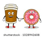 cartoon coffee and donut... | Shutterstock .eps vector #1028942608