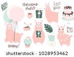 cute pink lamas hand drawn... | Shutterstock .eps vector #1028953462