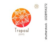 tropical plant logo. vector... | Shutterstock .eps vector #1028954272