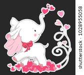 cute white baby elephant... | Shutterstock .eps vector #1028955058