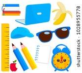 school supplies in yellow and...   Shutterstock .eps vector #1028955778