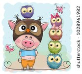 Cute Cartoon Pig In A Owl Hat...