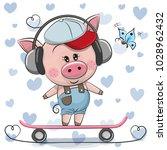 cute cartoon piggy with... | Shutterstock .eps vector #1028962432