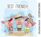 three friends cute cartoon pigs ... | Shutterstock .eps vector #1028966386