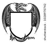 a dragon medieval heraldic coat ... | Shutterstock .eps vector #1028970742