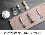 shaving accessories for man on... | Shutterstock . vector #1028979898