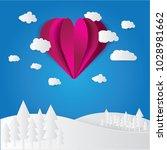 heart floating on the clouds... | Shutterstock .eps vector #1028981662